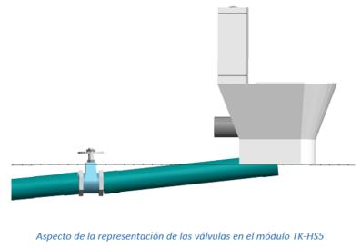 Aspecto de la representación de las válvulas en el módulo TK-HS5