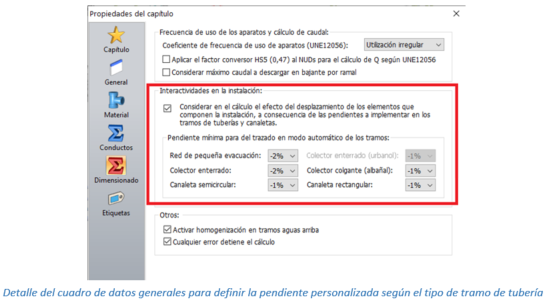Detalle del cuadro de datos generales para definir la pendiente personalizada según el tipo de tramo de tubería