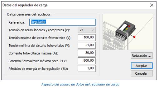 Aspecto del cuadro de datos del regulador de carga