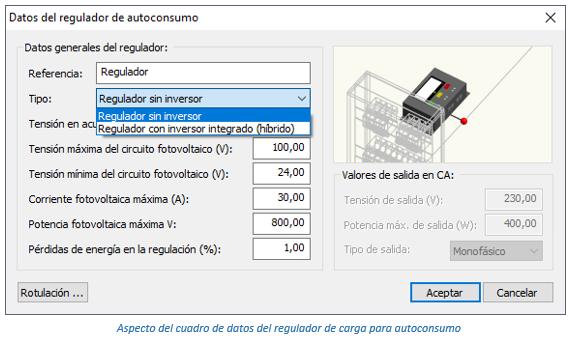 Aspecto del cuadro de datos del regulador de carga para autoconsumo