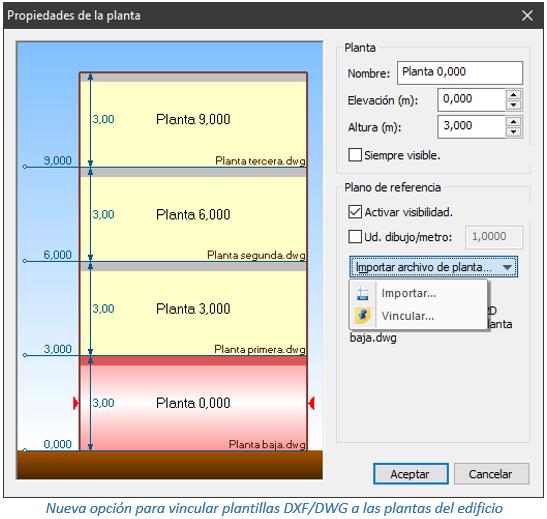 Nueva opción para vincular plantillas DXF/DWG a las plantas del edificio