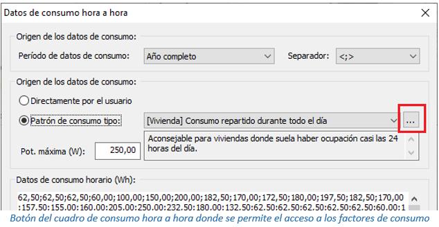 Botón del cuadro de consumo hora a hora donde se permite el acceso a los factores de consumo