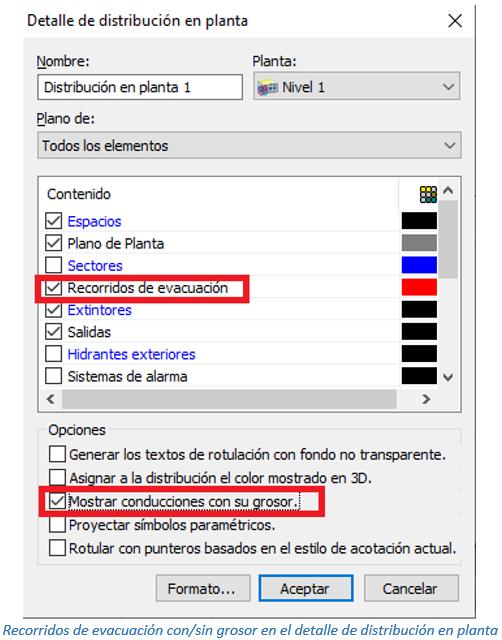 Recorridos de evacuación con/sin grosor en el detalle de distribución en planta