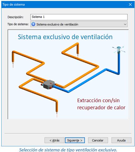 Selección de sistema de tipo ventilación exclusivo