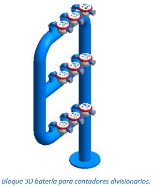 Bloque 3D batería para contadores divisionarios