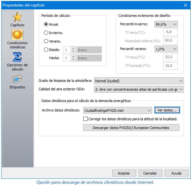 Opción para descarga de archivos climáticos desde Internet