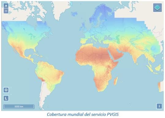 Cobertura mundial del servicio PVGIS