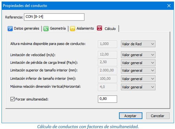 Cálculo de conductos con factores de simultaneidad