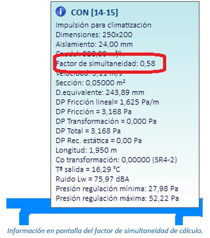 Información en pantalla del factor de simultaneidad de cálculo