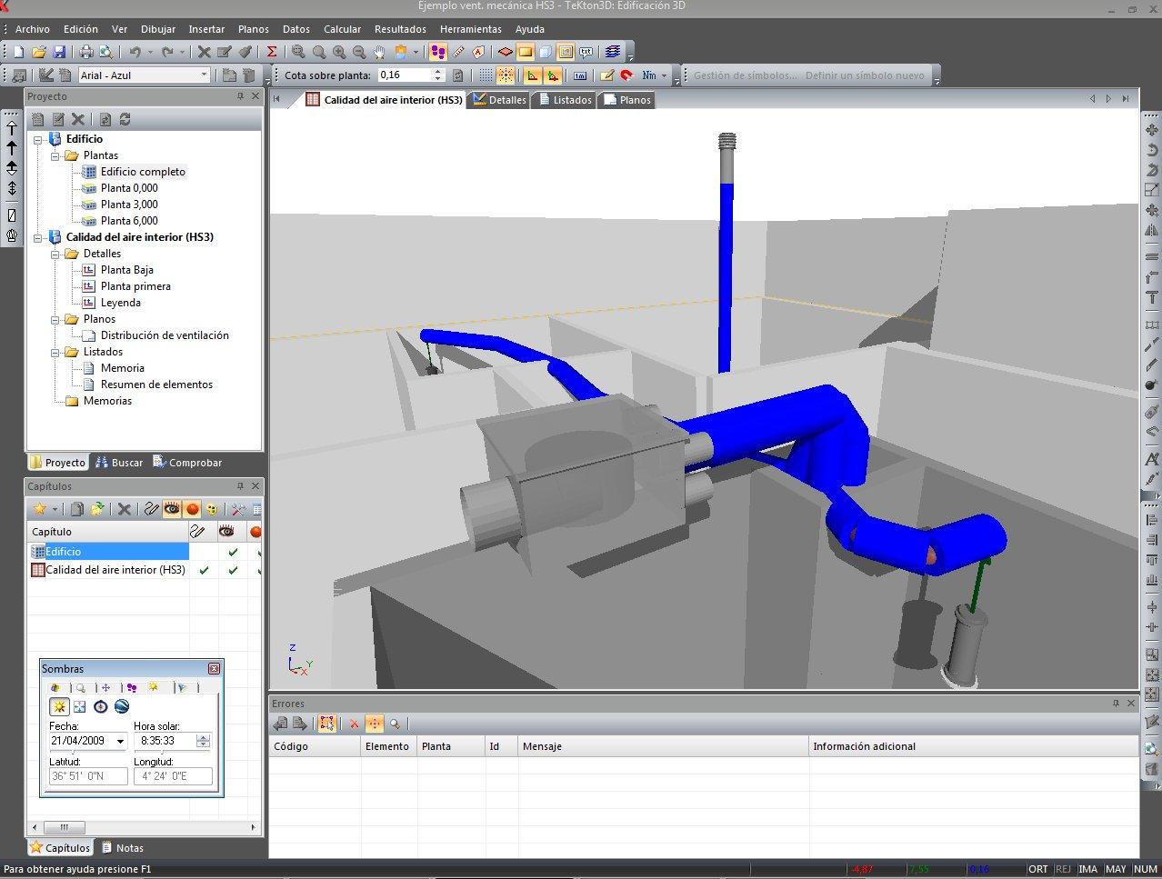 La variedad de símbolos 3D disponibles en TK-HS3 permite obtener un aspecto realista de los elementos que componen las instalaciones de ventilación
