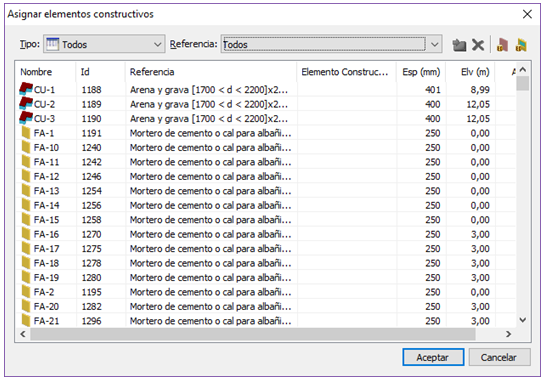 Asignación de elementos constructivos después de importar un fichero IFC
