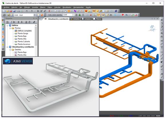 Visualización del fichero IFC en un visor online (A360 Viewer de AutoDESK)