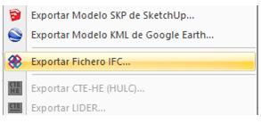 """Menú """"Exportar IFC"""""""