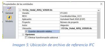 Ubicación del archivo de referencia de IFC