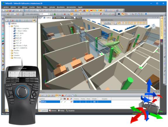 Uso de ratones 3D para controlar la visualización tridimensional del edificio