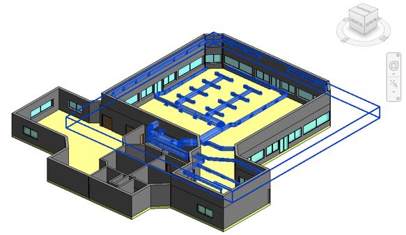 Fichero IFC de una instalación de climatización diseñada en TeKton3D vinculado en un proyecto de Revit
